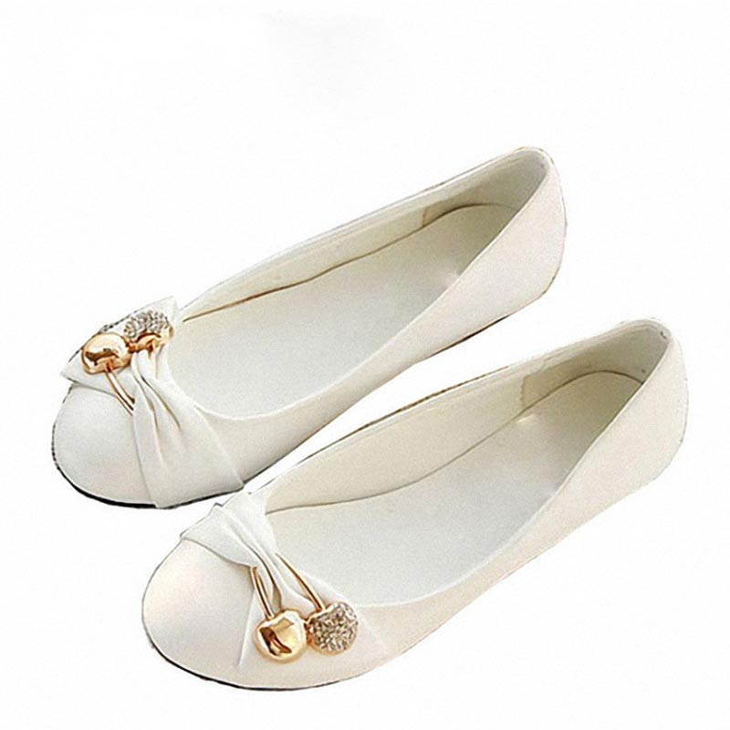 Womens Fashion Shoes Woman Flats Spring Shoes Large Size 4-14 Female Ballet Shoes Metal Round Toe Solid Casual Shoes AA552<br><br>Aliexpress