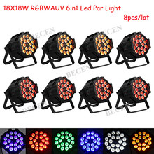 US warehouse 8pcs 18x18W 6in1 led par lights RGBWA UV par can light 25 degree 10ch fast shipping(China)