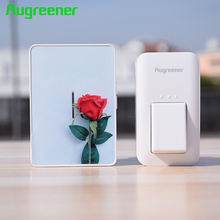Augreener Wireless Doorbell Button Waterproof No Battery Door Bell EU US UK Plug 100M Long Working Range With 6 Stickers(China)