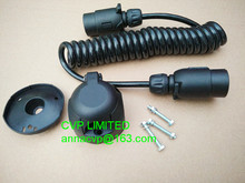 Towing trailer curly cable, spiral cable, coiled cable, 3m, 7 pin 12V plastic trailer plugs and sockets, trailer parts(Hong Kong)
