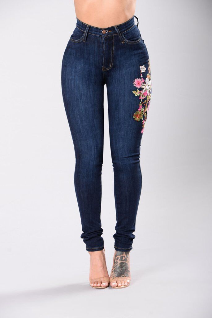 Hot Style Women Jeans Floral Embroidery Skinny Denim Long Pants Slim Fit Stretchy Skinny BuPust Up Ladies High-Waist Jeans (4)