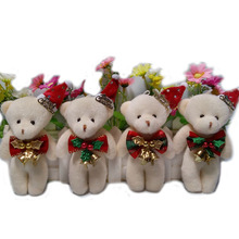 Lovely Mini Bear Soft Plush Toy Phone Charm Stuffed Small Toy Promotional Christmas Bear Doll For 12cm 10pcs/lot
