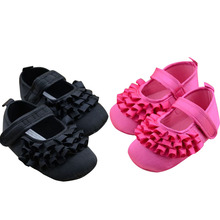Baby Girl First Walker Black Rose red Princess Flower Party Shoes Infant Baby Toddler Girls Soft Shoes Non-Slip 0-18M