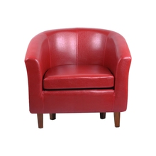 Best Leather Tub Chair Armchair for Dining Living Room Office Reception (Red)