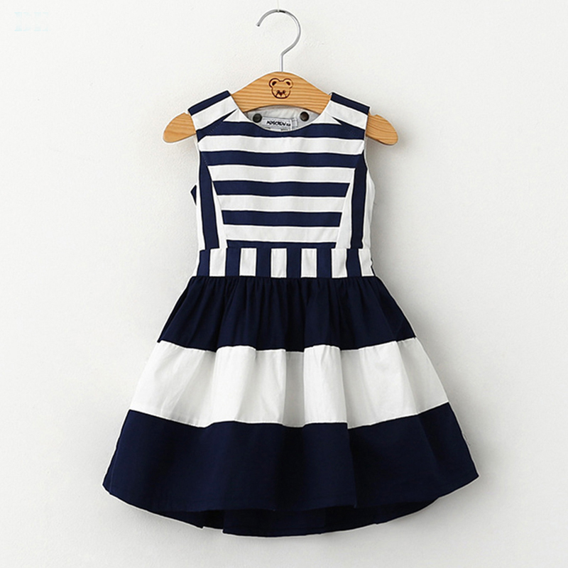 2017 sweet fashion new kids children clothing korean style sleeveless girls summer dress  wind navy striped sling vest dress<br><br>Aliexpress