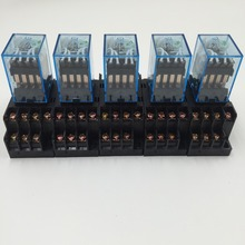 10Pcs Relay   MY4NJ  220/240V AC Small relay 5A 14PIN Coil DPDT With  Socket Base