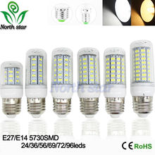 2016 NEW LED bulb 5730 SMD 9w 12w 15w 18w 20w LED lights corn lamps E27 E14 110V 220V 240V lamp Cold Warm White Free Shipping