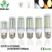 2016 NEW LED bulb 5730 SMD 9w 12w 15w 18w 20w LED lights corn lamps E27 E14 110V 220V 240V lamp Cold Warm White Free Shipping(China)