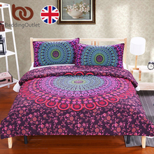 BeddingOutlet Mandala Bedding Set Posture Million Romantic Soft Bed Cover Twill Bohemia Duvet Cover Set with Pillowcases UK SIZE