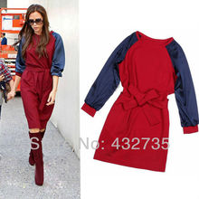 Retail New Fashion 2013 Autumn Winter Women Dress Victoria Beckham Red Blue Knee Length Patchwork Long Sleeve with Waist Strap(China)