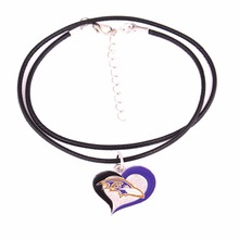 Drop shipping Fans collection single-sided enamel Swirl Heart Baltimore Ravens Football Team logo with Leather chain necklace(China)