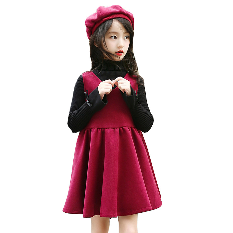 Kids Winter Dresses For Girls Bottoming Shirts V-Neck Sleeveless Dress For Party And Wedding Autumn Thick Princess Dresses &amp; Hat<br>