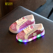 MXHY Hot SALE Kids shoes baby Fashion LED light shoes kids light up glowing sneakers boys Girls Latest children shoes with light