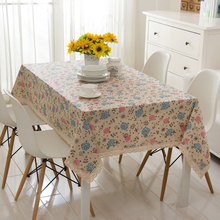 free shipping Linen tablecloths Pink, blue hydrangea cotton lace table cloth tablecloths drape TV cabinet(China)