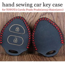 discount price fit for TOYOTA Carola Prado Prado(2013) Haice(2011) Sewing Leather Car Key Case Hand Sewing Key Case(China)