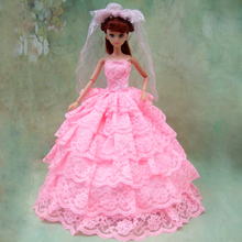 new arrial Full Around Lace quality light pink wedding dress for barbie doll bride dress with veil