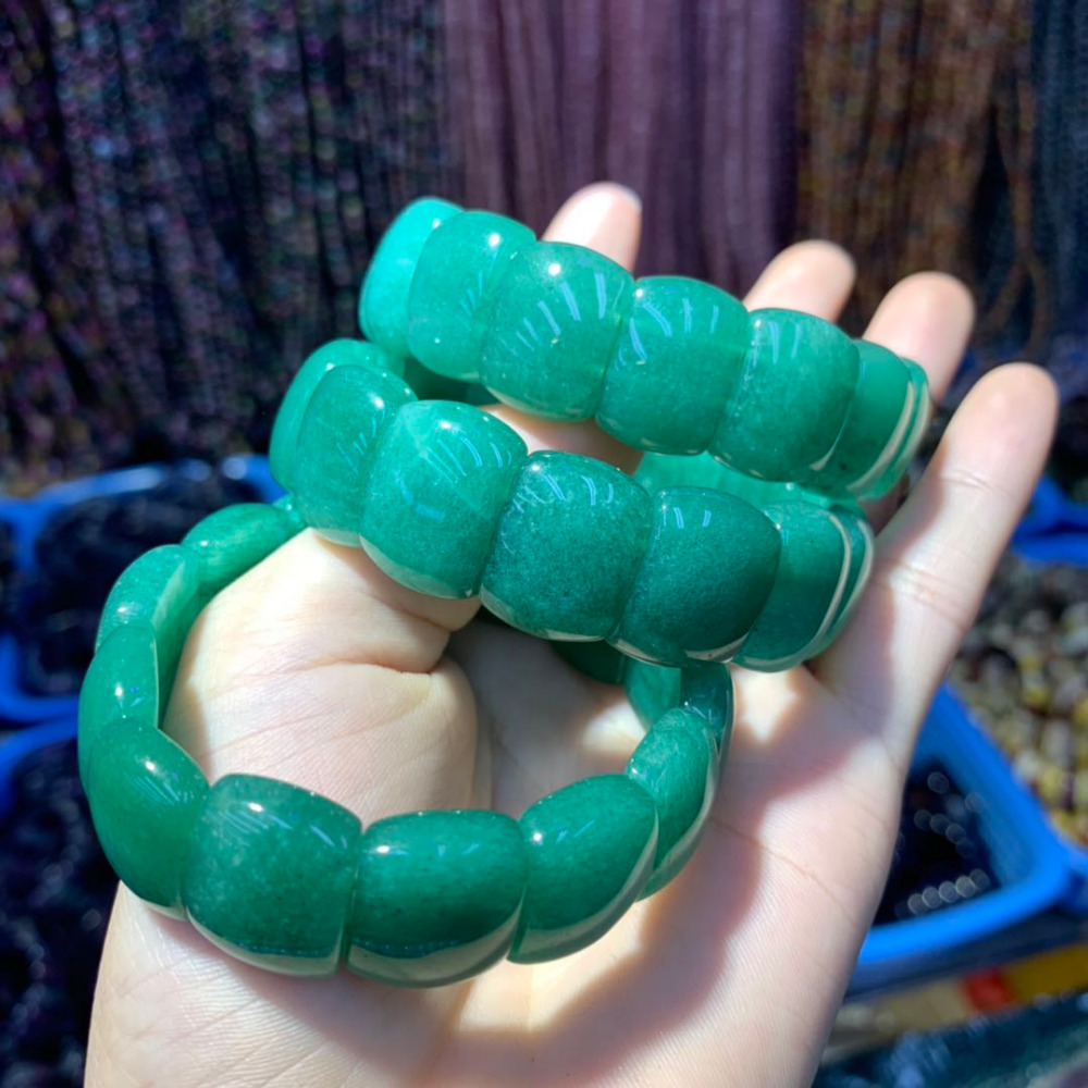 green aventurine jade stone beads bracelet natural gemstone bangle for woman for gift wholesale ! Браслет