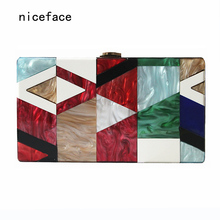 New 2017 Women messenger bag Summer unqique acrylic geometric lattice patchwork handbag small patry Clutch lady cute evening bag