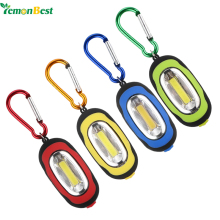Creative COB LED Flashlight Light 3-Mode Mini Camping Lamp Key Chain Ring Keychain PVC Lamp Torch Keyring