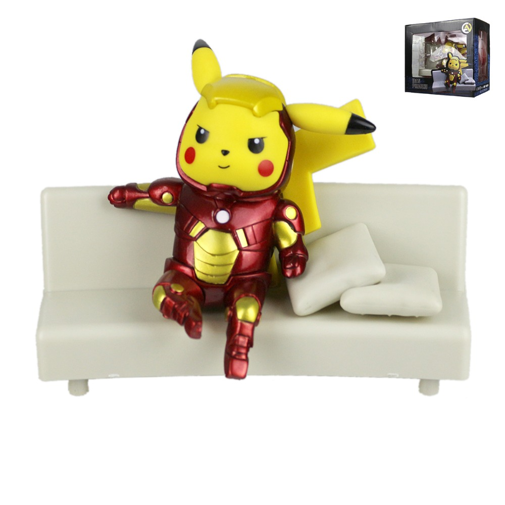 Pocket Monster Movie Pikachu Cos Tony Stark Sofa Collectible Figure Toy 13cm MV097028<br>