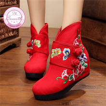 Double Butterfly Women's Boots 2016 Autumn Winter New Cloth Shoes Embroidered flower increased perspiration single Boots
