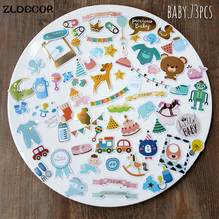 ZLDECOR Baby Die Cuts Stickers for Scrapbooking Happy Planner/Card Making/Journaling Project 73pcs(China (Mainland))