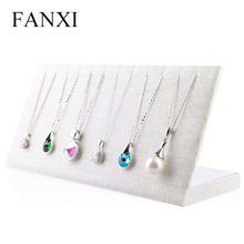 FANXI Free shipping custom China factory beige linen necklace display stand for 6 earrings pendant jewelry counter show case(China)