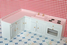 "3.58"" 1:12 Doll house miniature Dolls Furniture White & Pink 4 sets of kitchen Furniture"