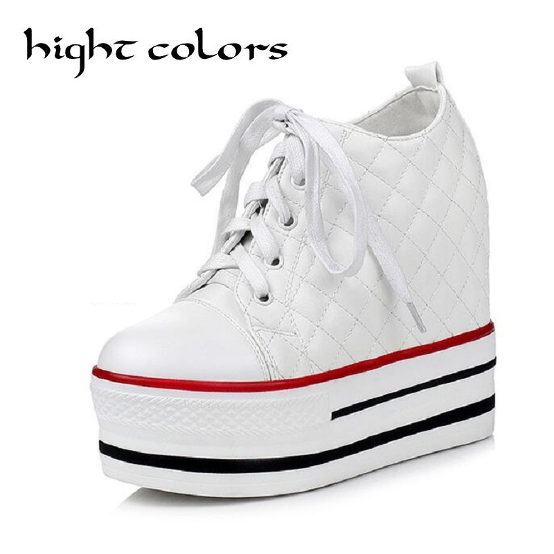 2017 Fashion Womens High Heeled Platform Shoes Elevators Boots White Black High Top Casual Woman With Lace-Up Student Shoes<br>