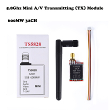 FPV Transmitter 5.8GHz 600mW 32Ch Mini Wireless Audio Video Transmitter (TX) Module TS5828 RP-SMA 5.8ghz Antenna for QAV250