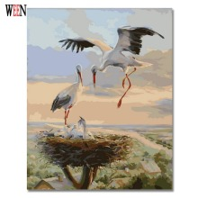 WEEN Crane Picture By Numbers Animal Oil Painting Coloring By Number On Canvas DIY Handpainted Wall Painting Unique Gift