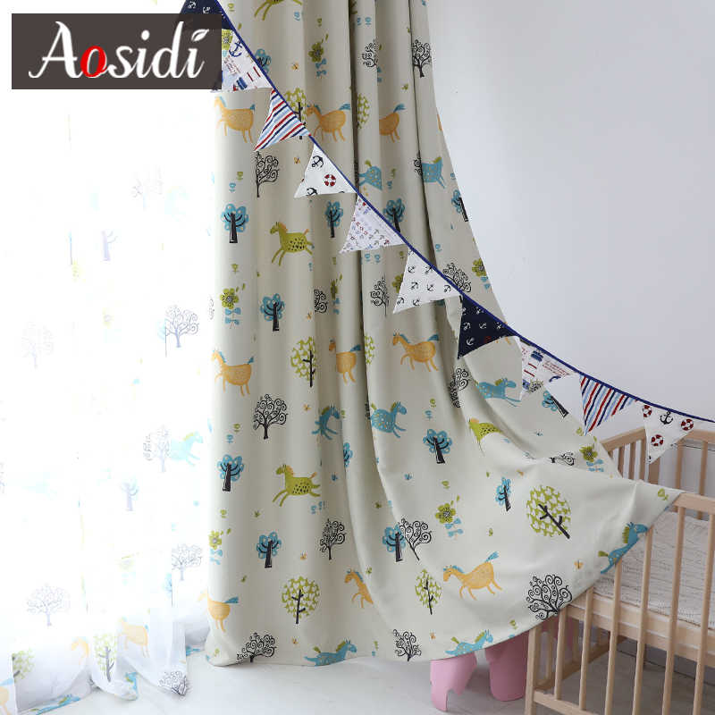 Blue pony blackout curtains for children's room 70-85% shading Pink horse sheer curtains for kids room voile curtain and tulle