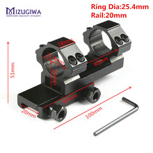 MIZUGIWA Tactical Heavy Duty Cantilever Flat Top Ring 25.4mm Rifle Scope Mount Adapter 20mm Picatinny Rail Weaver Mount Hunting