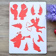 2Pcs Angel Layering Stencils For Walls Painting Scrapbooking Stamps Album Embossing Paper Cards DIY Craft