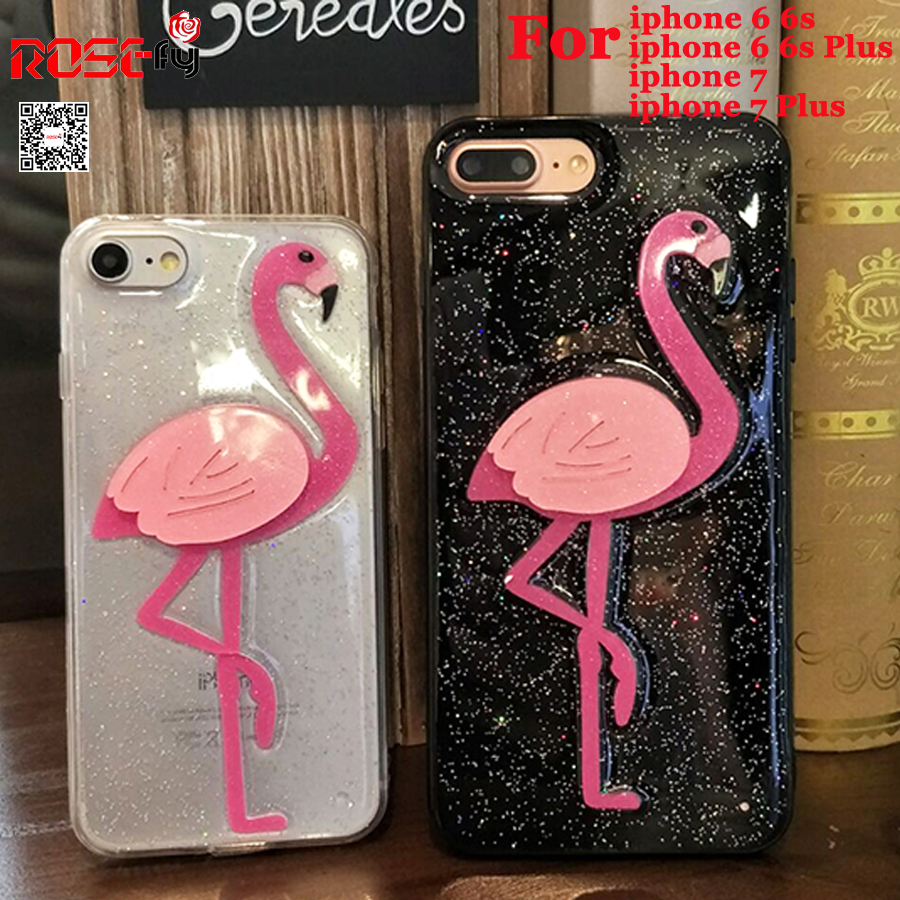 Luxury Glitter Bling Flamingo Soft TPU Cases iphone 7 Plus 6 6S Plus 3D Fashion Shiny Cover iphone 7 6 Coque Fund