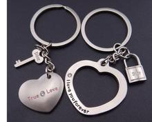 1pair/lot free shipping New fashion jewelry I LOVE YOU Heart Keychain Ring Keyring Lover keychain valentine keychain