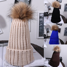 New Arrival Women's Autumn Winter Fashion Fuzzy Ball Crochet Knitted Hat Hemming Warm Cap