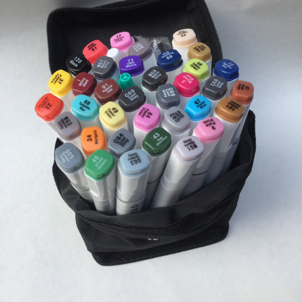 Free shipping Alcohol oily Mark Pen Two-headed school Students design Hand-painted 60 72 80 Color fine markers manga brush pen<br>