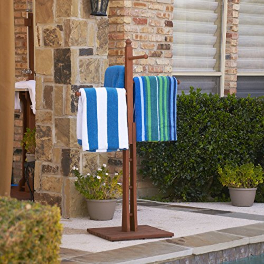 Fancy Styled Hardwood Towel Rack - Oiled Finish by Southern Enterprises