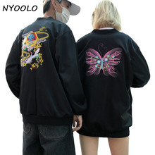 NYOOLO New desgin Vintage crane butterfly embroidery long sleeve zipper bomber Jacket women/men Baseball uniform streetwear