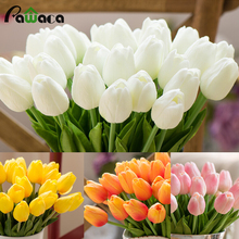 10 PCs Home Decoration Artificial Flowers PU Artificial Bouquet Real Touch Latex Tulip Flowers Wreaths For Wedding Party Decor