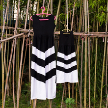 latest children frocks designs dresses for girls of 10 sleeveless frock Mommy and Me black patchwork chevron stripe maxi dress