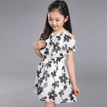 FunnyABC flower girl dresses summer chiffon girls dress white black short sleeve girls clothes