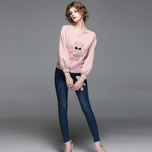 New Two Piece Set Cartoon Beading Sweater And Jeans Set Women Fashion Pink Knitted Sweater And Blue Pant Suit Twinset Clothing(China)
