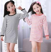 3-12Y Girls Nightgown children clothing cotton long sleeved pajamas Cute kids Homewear Nightdress Clothes Princess Dress DNS04