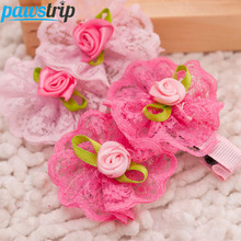 10pcs/lot Rose Lace Flower Dog Puppy Hairpin 5*4.5cm Pet Hair Clip Grooming(China)