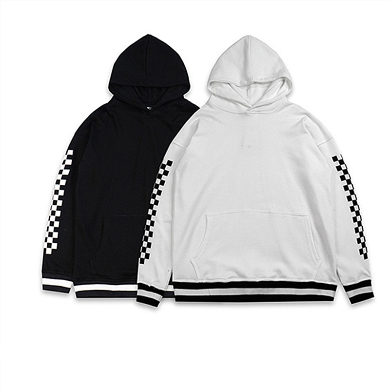 Men women hoodies kanye west hip hop streetwear lattice harajuku plaid hoodie sweatshirts justin bieber tops coats clothing