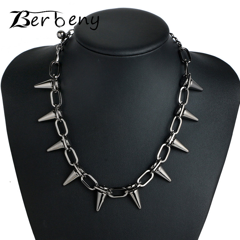 Rivets CBB material Chokers Punk Goth Handmade Choker Necklace Silver Spike Rivet Necklace EMO Rock Gothic Chocker(China)