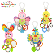 Happy Monkey baby bed bell neonatal baby toys with BB bell plush toy for baby bed hanging bell cartoon animal WJ459(China)