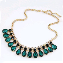 TOMTOSH 2015 new fashion jewelry green crystal necklace and pendant fashion high fashion necklace(China)